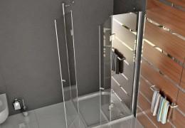 Box doccia con apertura angolare ed accessori in acciaio