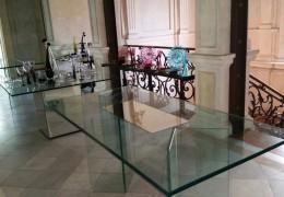 Tavolo in cristallo con inserto centrale in spoecchio
