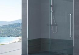 Box doccia con ante scorrevoli trattate con anticalcare ed accessori in acciaio