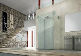 Parete doccia in cristallo strutturale e lavabi in vetro